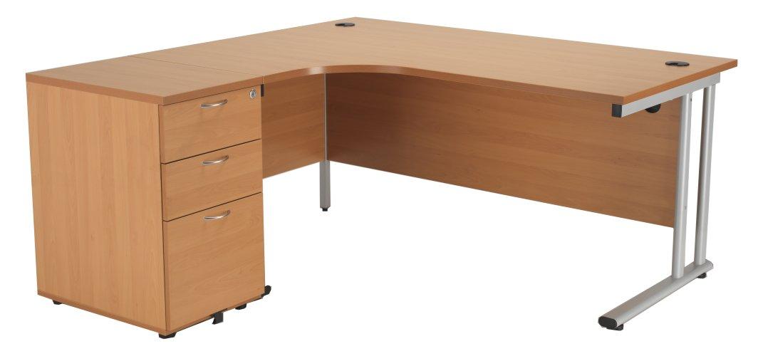 Start 1600mm Left Hand Crescent Desk with 3 Drawer Pedestal