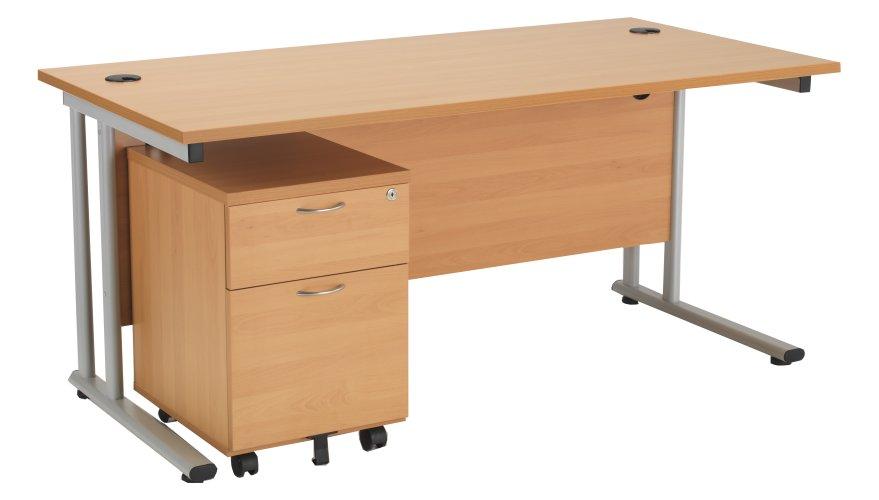 Start 1400mm Cantilever Desk with 2 Drawer Mobile Pedestal