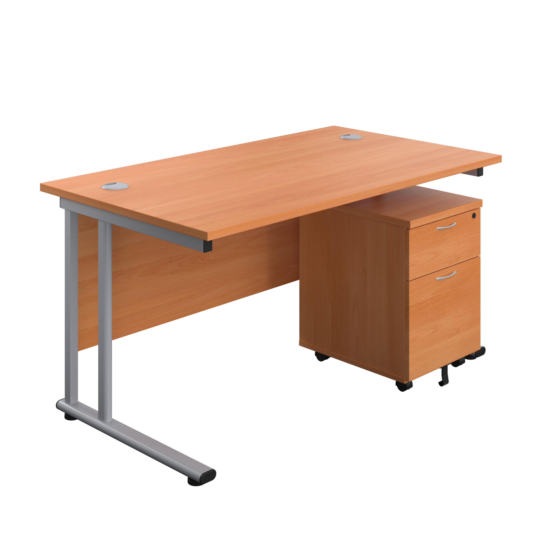 Start 1600mm Desk with 2 Drawer Mobile Pedestal