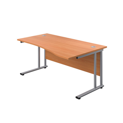 1600mm Twin Upright Right Hand Wave Desk