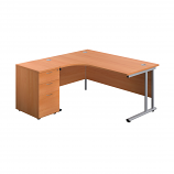 Start 1600mm Left Hand Crescent Desk with 3 Drawer Pedestal