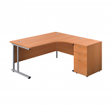 Start 1600mm Right Hand Crescent Desk with 3 Drawer Pedestal