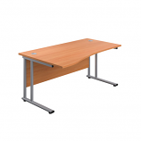 1400mm Twin Upright Left Hand Wave Desk
